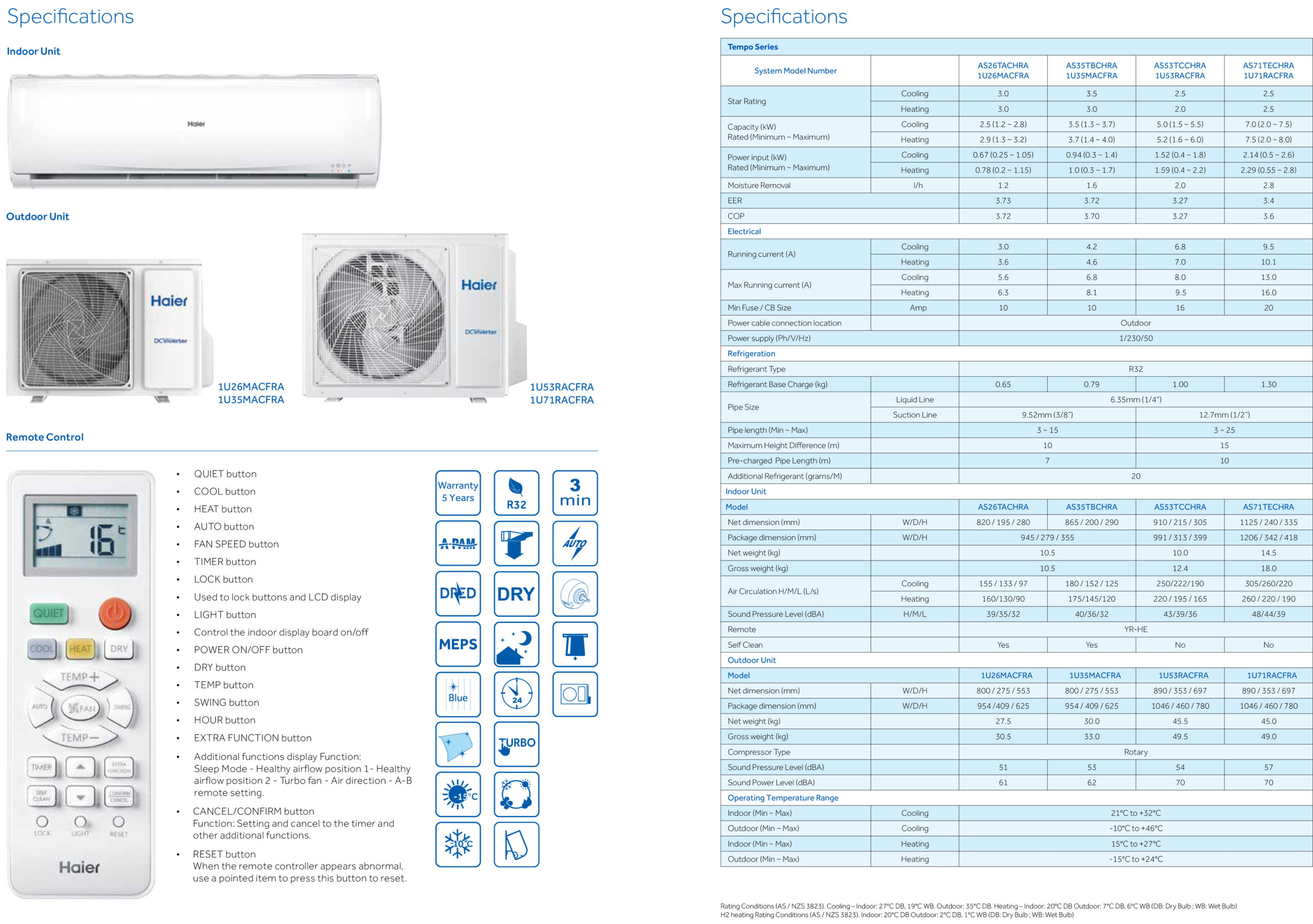 Haier (Tempo Series) Built in WiFi + Voice Control + Self Clean / Reverse Cycle Inverter Split System Air Conditioner Cooling & Heating Wall Mounted